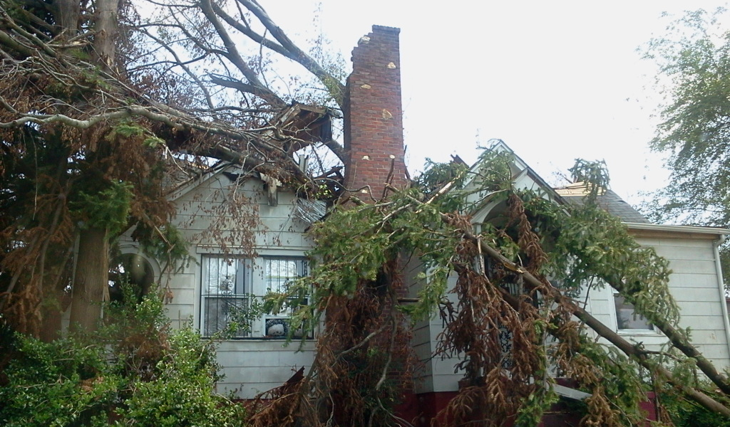 Tree Falls on House and Destroys it - Storm Damage - Raleigh North Carolina 2011